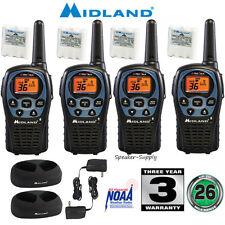 4 Pack Midland 26 Mile Two Way Walkie Talkie Radio Set NOAA + Charger LXT560VP3