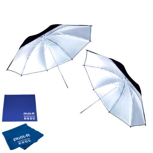 "Fot-R 2x 33/"" Negro y Plateado Studio paraguas Reflector Paño de Microfibra Gamuza"
