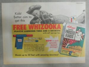 Kellogg's Cereal Ad: Free Whizooka Premium ! From 1956 Size: 7 x 10 inches