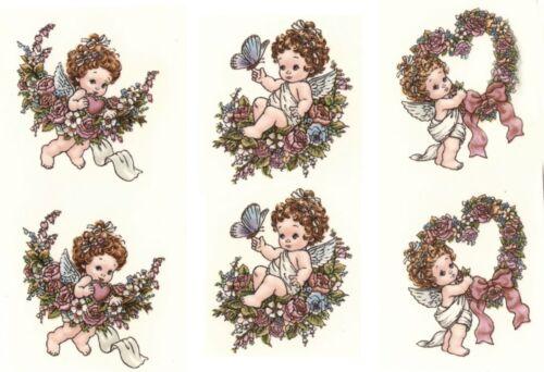 """6 Angels Flower Wreath 1-1//2/"""" Waterslide Ceramic Decals Xx"""