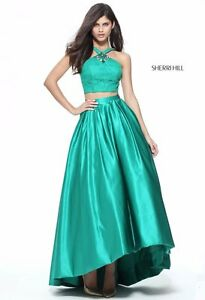 Sherri Hill 51162 Emerald Green Stunning Pageant Prom Two Piece Gown