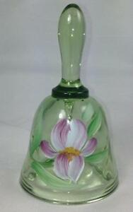 Lot-of-10-Fenton-Lt-Green-Petite-Bell-w-Irises-Handpainted-Signed-756