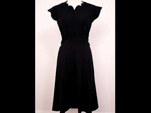 Sweetheart cou superbe détail à l/'arrière Noir Taille 12 1940 S Style Jour Robe