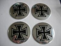 Maltese Cross Wheel Center Cap Emblems Set Aluminum Stickers Decal Coned 2 3/16