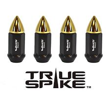 "32 VMS RACING 70MM 9/16"" FORGED STEEL EXTENDED LUG NUTS W/ GOLD BULLET SPIKES B"