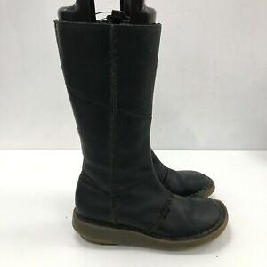 DR-MARTENS-Black-Grain-Texture-Mid-Calf-Zip-Wedge-Boots-Womens-Size-UK-4-461059