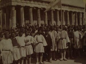 Details about 1897 Greco-Turkish War ARMY RECRUITS Theseus Temple  ATHENS,Greece U&U Stereoview