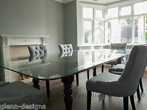 8-10-12-seater-039-CLEARLY-GLASS-039-dining-table-Farm-house-base-2-part-leg-stained
