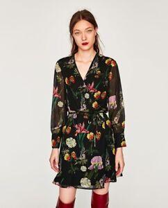 aa07c3a1 Image is loading Zara-SS17-Women-Mini-Floral-Printed-Wrap-Dress-