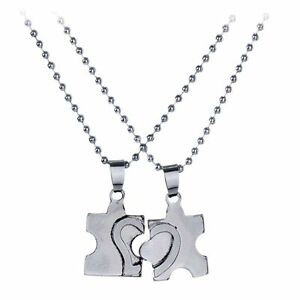 2pc couple puzzle piece necklace set matching jigsaw heart his and image is loading 2pc couple puzzle piece necklace set matching jigsaw aloadofball Gallery