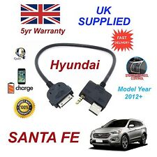 For Hyundai SANTA FE iPhone 3gs 4 4s iPod USB & 3.5mm Aux Cable MY2012+