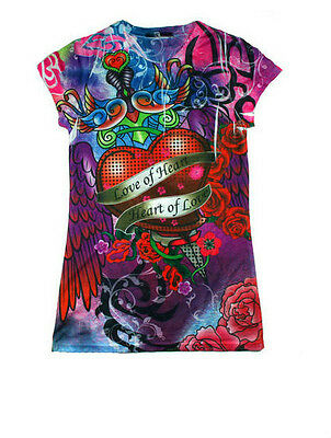 Girls Heart of Love Juniors Sublimation Fashion Shirt Size Small