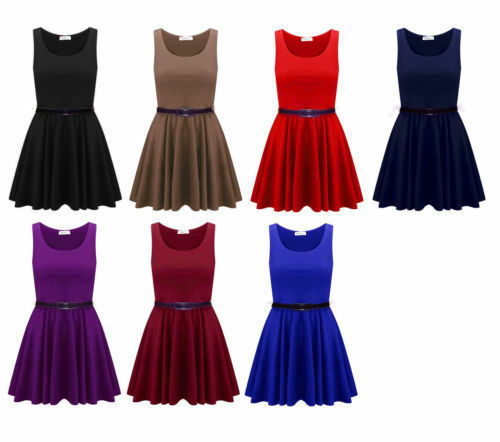 Womens Belted Sleeveless Flared Franki Short Party Ladies Skater Dress 8-26 UK