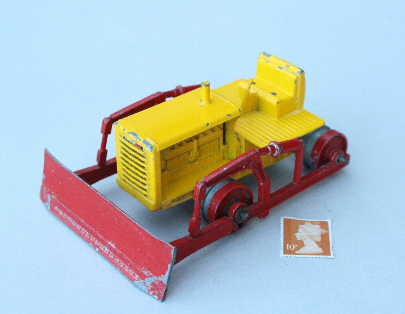 Matchbox Lesney MOKO Large Caterpillar Tractor Bulldozer - Yellow   Red