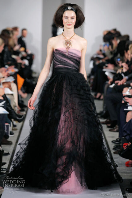 $12,490  New Oscar de la Renta Pink Black Tulle Chantilly Lace Ball Gown DRESS 6