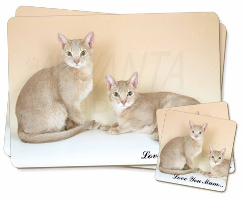 Abyssynian Cats 'Love You Mum' Twin 2x Placemats+2x Coasters Set in , AC27lymPC