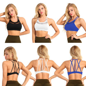 97ed1745639d4 Women Padded Sports Bra Mesh Cross Back Fitness Bra Light Impact ...