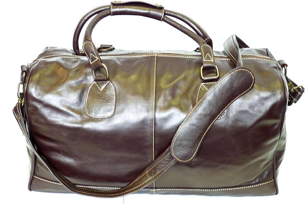 Grand marron Real Leather Holdall Duffel Travel Sports Gym Designer Weekend Sac