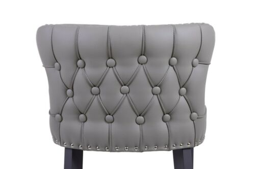 Contemporary Bar Stool Mia Faux Leather Bar Stool Tufted back with Deep Button Taupe Faux Leather,Dark Grey Faux Leather