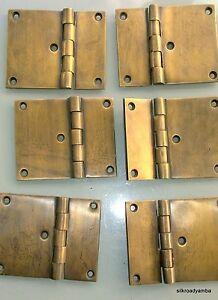 "6 cast hinges vintage age style solid Brass DOOR BOX restoration heavy 3"" screws"
