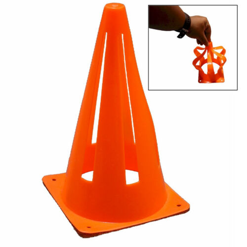 12 QTY WORKOUTZ 9-INCH COLLAPSIBLE SAFETY CONE SPORTS SOFT AGILITY SOCCER