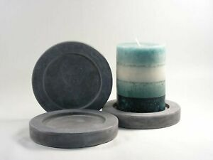 Round-Concrete-Pillar-Candle-Plate-Set-of-3-Handmade-Candle-Stands-Home-Decor