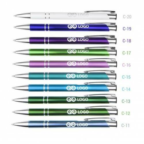"""Metall Kugelschreiber /""""Cosima/"""" mit Gravur Logo//Druck//Werbung//graviert ab 50 St."""