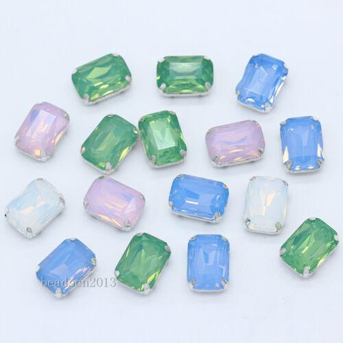 Opal Octagon glass stone sew on rhinestone silver base buckle wedding Dress Trim