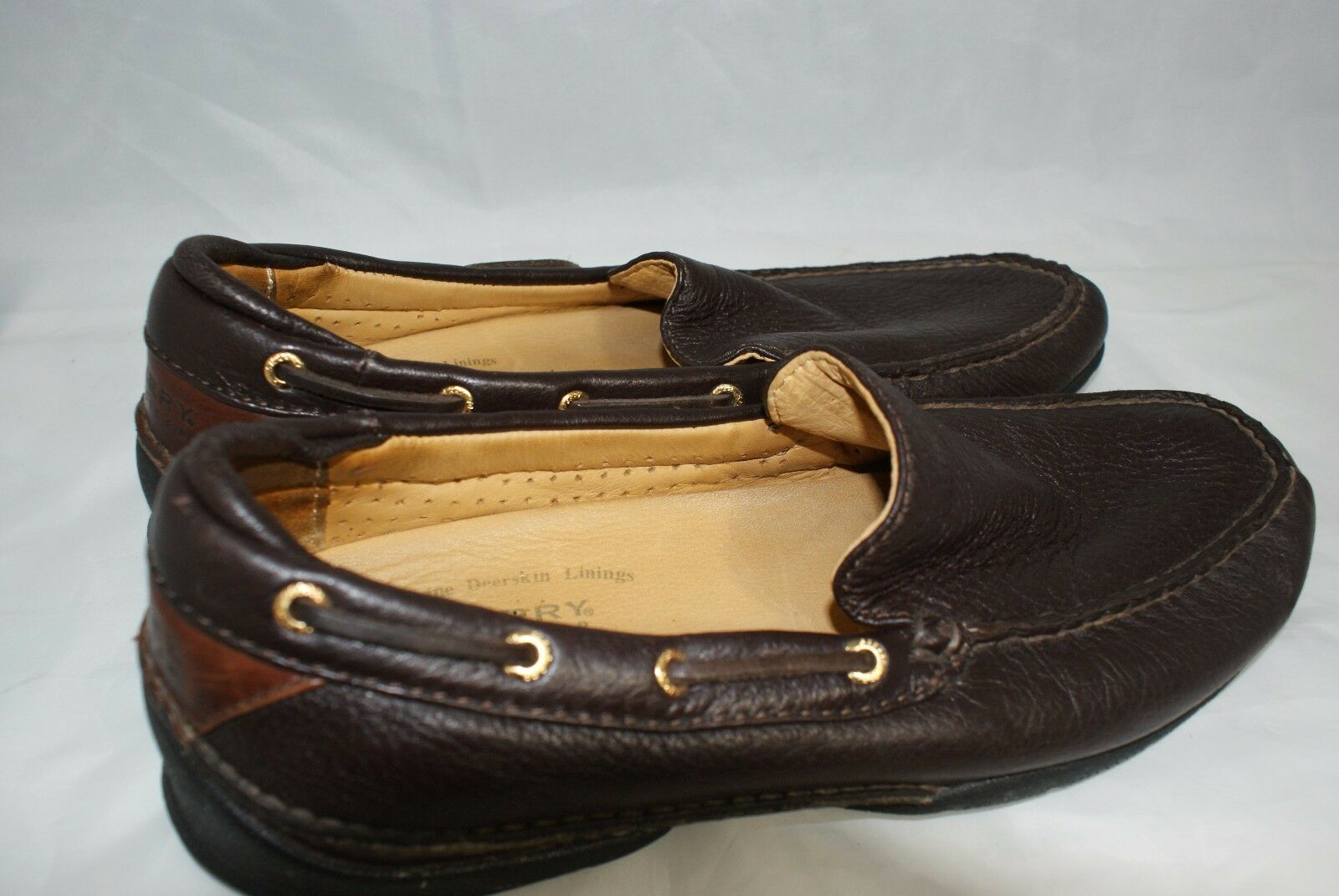 Sperry Top Sider Mens 10 M Brown 2Tone Leather Driving Moc Loafer Slip On shoes