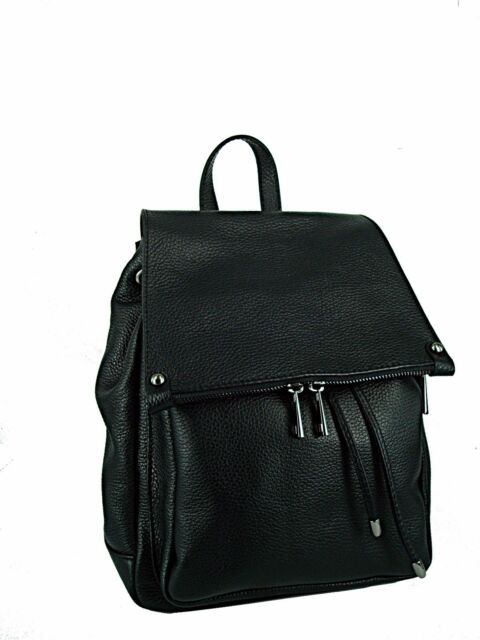 ZAINO donna in vera pelle made in italy vitello  nero nuovo - bag leather
