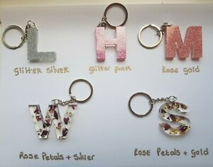 Personalised-Letter-Keyring-Silver-or-Pink-Car-Accessories-Bag-Charm-A-Z