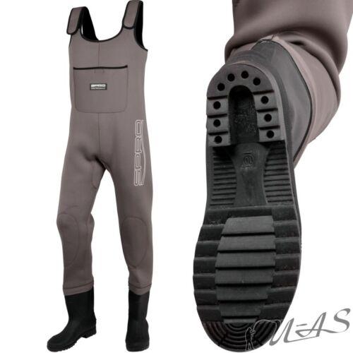 Spro Neoprene Waders 4mm Neopren Wathose Gr 45 mit Pvc Stiefel Profil Sohle Sha