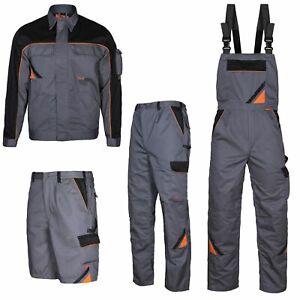 Arbeitshose-Latzhose-Arbeitsjacke-Arbeitsshorts-Berufskleidung-grau-Grose-44-64
