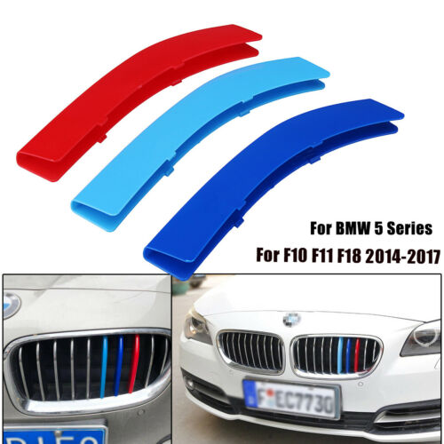 3pcs Front M Trim Color Kidney Grill Cover Clip Strip For BMW 5 Series F10 F18