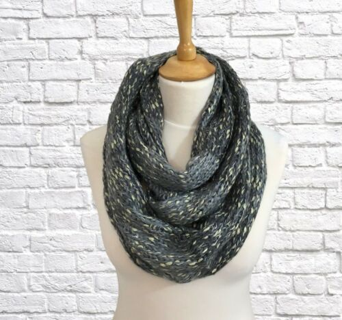 Grey Silver Beige Winter Infinity Snood Scarf Cowl Wrap Chunky Knit Gifts