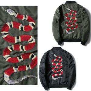 Women-Embroidery-Snake-Bomber-Jacket-Coat-Windbrake-Sports-Down-Outwear-Parka-UK