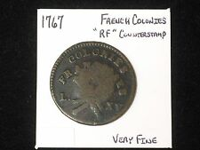 """1767 Sou BN French Colonies Colonial Copper, """"RF"""" Counter Stamped. Very Fine!"""