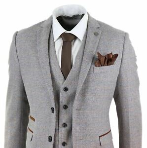 Mens Oak 3 Piece Tweed Suit Herringbone Wool Vintage Retro Fit Peaky Blinders