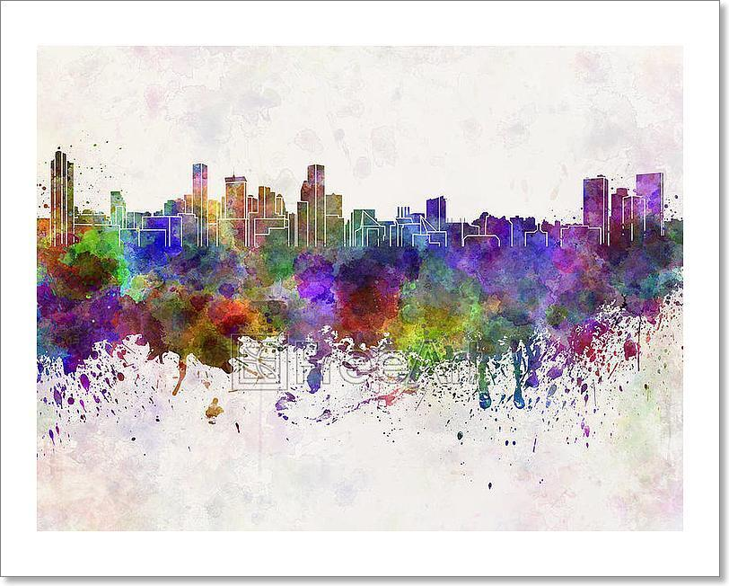 Baltimore Skyline In WaterFarbe Art Print Home Decor Wall Art Poster - C