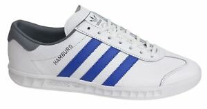 5b12ae7f1c1 Adidas Originals Hamburg Lace Up White Leather Mens Trainers BB2779 ...