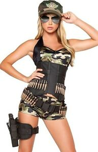 Sexy Womens Army Babe Military Cadet Camouflage Adult Halloween ...