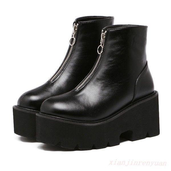 Women's casual Punk Gothic Platform Zip Combat  short Ankle Boots creeper shoes