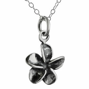 Tiny Plumeria Flower Necklace 925 Sterling Silver Charm