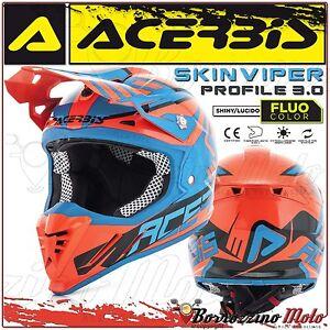 CASQUE-ACERBIS-PROFILE-3-0-SKINVIPER-MOTOCROSS-ENDURO-ORANGE-FLUO-BLEU-TAILLE-XS