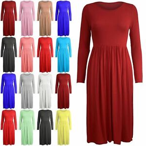 Women-Long-Sleeve-Smock-Swing-Dress-Flared-Skater-Jersey-Long-Sleeve-Midi-Plus