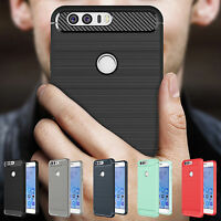 Shockproof Hybrid Brushed Carbon Fiber TPU Rubber Case Cover For Huawei Honor 8