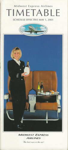9111 Midwest Express Airlines system timetable 5//1//01 save 50/% Buy 4