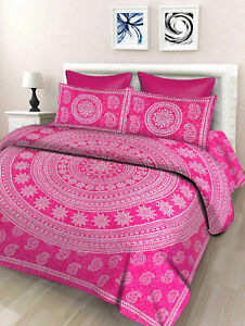 Floral-Print-Cotton-Double-Bed-Sheet-amp-Duvet-Cover-With-4-Pillow-Covers-Pink-sk