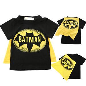 Summer-Kids-Baby-Boys-Clothing-Fashion-Batman-Cape-Short-sleeve-Tops-T-shirt