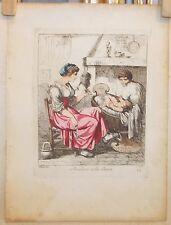 Acquaforte costumi bambino nella cunna Bartolomeo Pinelli 1823